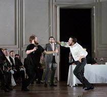 l-r: Allan Clayton (Hamlet), Rupert Enticknap (Rosencrantz), David Butt Philip (Laertes) in HAMLET opening at Glyndebourne Festival Opera, East Sussex,England on 11/06/2017    music: Brett Dean libret...