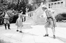 TWELFTH NIGHT by Shakespeare  set design: Kit Surrey  costumes: Tim Goodchild  director: Robert Lang l-r: Ronald Radd (Sir Toby Belch), Rowena Cooper (Viola), John Justin (Sir Andrew Aguecheek)Open Ai...