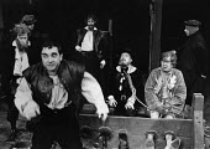 BARTHOLOMEW FAIR  by Ben Jonson  set design: Robin Don & Tanya McCallin  costumes: Lindy Hemming  lighting: Leonard Tucker  director: Peter Barnes front, l-r: David Claridge (Trouble-All), Henry Woolf...