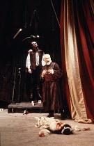 THE SPANISH TRAGEDY  by Thomas Kyd  design: Chris Dyer  lighting: Leonard Tucker  director: Michael Bogdanov   l-r: Roger Gartland (Horatio), Michael Bryant (Hieronimo), Patti Love (Bel-Imperia) Cotte...