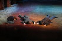 BLOOD BROTHERS book, music & lyrics by Willy Russell design: Marty Flood lighting: Jon Swain director: Bob Tomson & Bill Kenwright  final scene, Eddie & Mickey lie dead Phoenix Theatre, London WC2 7...