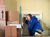 at the 'secret door': Mary Bevan (Coraline) in the world premiere of CORALINE opening at the Barbican Theatre, London EC2 on 29/03/2018  a Royal Opera production music: Mark-Anthony Turnage libretto:...