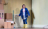 should she go through the 'sceret door'?: Mary Bevan (Coraline) in the world premiere of CORALINE opening at the Barbican Theatre, London EC2 on 29/03/2018  a Royal Opera production music: Mark-Antho...