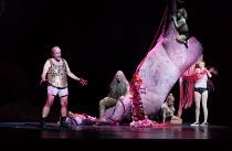 SALOME by Richard Strauss after Oscar Wilde conductor: Martyn Brabbins design: Marg Horwell lighting: Lucy Carter choreographer: Melanie Lane director: Adena Jacobs  l-r: Michael Colvin (Herod), (sea...