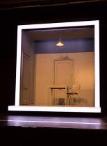 COMPANY music & lyrics: Stephen Sondheim book: George Furth design: Bunny Christie lighting: Neil Austin choreography: Liam Steel director: Marianne Elliott set detail: room, interior, cube, door, tab...