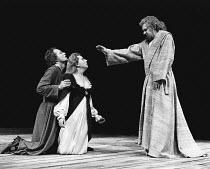 HAMLET by Shakespeare design: Ralph Koltai lighting: Mark Pritchard director: John Barton <br> l-r: Michael Pennington (Hamlet), Barbara Leigh-Hunt (Gertrude), Raymond Westwell (Ghost of Hamlet�s Fath...