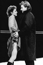 THE GENIUS by Howard Brenton design: Peter Hartwell lighting: Gareth Jones director: Danny Boyle <br> Anna Nygh (Virginia Hay), Trevor Eve (Leo Lehrer) Royal Court Theatre, London SW1 08/09/1983 (c) D...