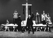 SERJEANT MUSGRAVE'S DANCE by John Arden set design: Peter Hartwell costumes: Pamela Howard director: John Burgess <br> rear left: Mary Macleod (Mrs Hitchcock), John Thaw (Serjeant Musgrave) centre: Ro...