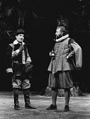 THE MERRY WIVES OF WINDSOR by Shakespeare design: John Napier lighting: Brian Harris choreography: Sue Lefton directors: Trevor Nunn & John Caird <br> l-r: Ben Kingsley (Ford), Bob Peck (Page) Royal Shakespeare Company (RSC), Royal Shakespeare Theatre, Stratford-upon-Avon, England 03/04/1979 (c) Donald Cooper/Photostage photos@photostage.co.uk ref/BW-P-104-6a