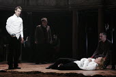 HAMLET by Shakespeare design: Laura Hopkins lighting: Mark Jonathan fights: Terry King director: Rupert Goold <br> the duel - l-r: Tobias Menzies (Hamlet), David Ganly (Horatio), Michael Shaeffer (Lae...