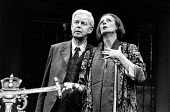 LETTICE AND LOVAGE  by Peter Shaffer  set design: Alan Tagg  costumes: Susan Yelland  lighting: Robert Bryan  director: Michael Blakemore <br> Richard Pearson (Mr Bardolph), Maggie Smith (Lettice Dou...