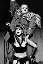 THE BALCONY by Jean Genet design: Farrah lighting: Stewart Leviton director: Terry Hands <br> Helen Mirren (General's Girl), Philip Locke (General) Royal Shakespeare Company (RSC), Aldwych Theatre, Lo...