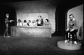 HAMLET by Shakespeare adapted & directed by Charles Marowitz <br> l-r: Fortinbras, Laertes, Rosencrantz, Claudius, Gertrude, Clown, Guildenstern, Hamlet Open Space Theatre, London W1 1975 (c) Donald C...