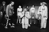 HAMLET by Shakespeare adapted & directed by Charles Marowitz <br> l-r: Fortinbras, Hamlet, Ophelia, Claudius, Guildenstern, Rosencrantz, Laertes, Gertrude Open Space Theatre, London W1 1975 (c) Don...