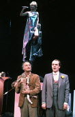 JUMPERS by Tom Stoppard design: Carl Toms lighting: David Hersey director: Peter Wood <br> top: Felicity Kendal (Dorothy Moore) below, l-r: Paul Eddington (George Moore), Simon Cadell (Archie) Aldwych...