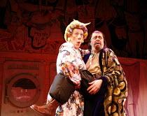 l-r: Ian McKellen (Widow Twankey), Roger Allam (Abbanazar) in ALADDIN at the Old Vic Theatre, London SE1  16/12/2005 ~in a new version by Bille Brown  set design: John Napier  costumes: Mark Bouman  l...