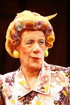 Ian McKellen (Widow Twankey) in ALADDIN at the Old Vic Theatre, London SE1  16/12/2005 ~in a new version by Bille Brown  set design: John Napier  costumes: Mark Bouman  lighting: David Hersey  choreog...