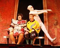 ALADDIN   written by: Paul Hendy   directed by: Christopher Biggins,l-r: Christopher Biggins (Widow Twankey), Henry Luxemburg (Aladdin) & ^Mummy^ ,Richmond Theatre, Richmond / Surrey, England...