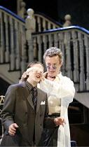 THE ALCHEMIST   by Ben Jonson   director: Nicholas Hytner,III/v - Subtle blindfolds Dapper - l-r: Bryan Dick (Dapper), Alex Jennings (Subtle, The Alchemist),Olivier Theatre / National Theatre, London...