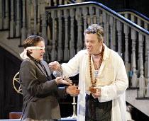 THE ALCHEMIST   by Ben Jonson   director: Nicholas Hytner,III/v - Subtle places mouse in blindfolded Dapper^s hand - l-r: Bryan Dick (Dapper), Alex Jennings (Subtle, The Alchemist),Olivier Theatre / N...