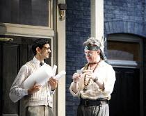 THE ALCHEMIST   by Ben Jonson   director: Nicholas Hytner,l-r: Amit Shah (Abel Drugger), Alex Jennings (Subtle, The Alchemist),Olivier Theatre / National Theatre, London SE1            14/09/2006,