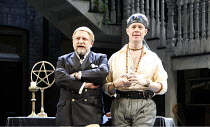 l-r: Simon Russell Beale (Face), Alex Jennings (Subtle, The Alchemist) in THE ALCHEMIST by Ben Jonson at the Olivier Theatre, National Theatre (NT), London SE1 14/09/2006 ~design: Mark Thompson  light...