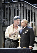 l-r: Alex Jennings (Subtle, The Alchemist), Simon Russell Beale (Face) in THE ALCHEMIST by Ben Jonson at the Olivier Theatre, National Theatre (NT), London SE1 14/09/2006 ~design: Mark Thompson  light...