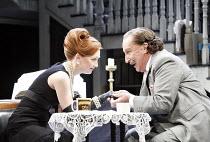 THE ALCHEMIST   by Ben Jonson   director: Nicholas Hytner,IV/i: Lesley Manville (Dol Common), Ian Richardson (Sir Epicure Mammon),Olivier Theatre / National Theatre, London SE1            14/09/2006,