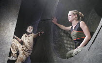 'ANTIGONE AT HELL'S MOUTH' (Nick Darke - director: Mike Shepherd),Dom Coyote Lawton (ghost of Johnny Throttle), Kate Hewitt (Gonnieta),National Youth Theatre / Soho Theatre, London W1     15/08/2005,