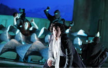 ARIODANTE   by Handel   conductor: Christopher Moulds   original director: David Alden   design: Ian MacNeil,Alice Coote (Ariodante) with (rear left, in mechanical wave machine) Sarah Tynan (Dalinda),...