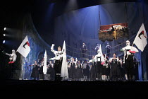 ARMS AND THE COW   by Kurt Weill   conductor: James Holmes   director: David Pountney,left centre: Donald Maxwell (General Garcia Conchas),Opera North / Alhambra Theatre, Bradford  England...