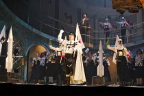 ARMS AND THE COW   by Kurt Weill   conductor: James Holmes   director: David Pountney,centre: Donald Maxwell (General Garcia Conchas),Opera North / Alhambra Theatre, Bradford  England...