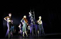 CABARET   book: Joe Masteroff   music: John Kander   lyrics: Fred Ebb   director: Rufus Norris,^Wilkommen^ - front, l-r: Benny Maslov (Rudy), (Josephine Darvill-Mills (Rosie), (up ladder) James Drefus...