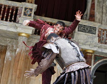 CORIOLANUS   by Shakespeare   director: Dominic Dromgoole,(facing camera) Jonathan Cake (Coriolanus), Mo Sesay (Aufidius),Shakespeare^s Globe, London SE1                     10/05/2006,