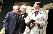 THE CREEPER   by Pauline Macauley   director: Bill Bryden,l-r: Ian Richardson (Edward Kimberly), Harry Towb (Holmes), Robert Styles (Man in a Raincoat),Playhouse Theatre, London WC2...
