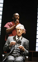 THE CUT   by Mark Ravenhill   director: Michael Grandage,rear: Jimmy Akingbola (John)   seated: Ian McKellen (Paul),Donmar Warehouse / London WC2                   28/02/2006    ,