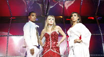 DADDY COOL   songs: Boney M & Frank Farian   book: Stephen Plaice & Amani Naphtali   director: Andy Goldberg,l-r: Harvey (Shake), Michelle Collins (Ma Baker), Javine (Asian Blue),Shaftesbury Theatre,...