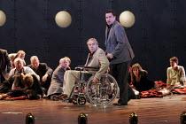 'THE DEATH OF KLINGHOFFER' (music: John Adams   libretto: Alice Goodman   conductor: Edward Gardner   director: Anthony Neilson),centre - hostage & captor: Jonathan Summers (Leon Klinghoffer), D'Arcy...