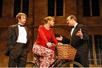 DONKEYS^ YEARS   by Michael Frayn   director: Jeremy Sams,l-r: James Dreyfus (A V Quine, BA),  Samantha Bond (Lady Driver, MA), David Haig (C D P B Headingly, MA, MP) ,Comedy Theatre / London SW1...