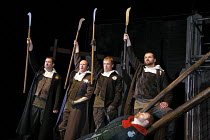 WARS OF THE ROSES - EDWARD IV   by Shakespeare   adapted and directed by Barrie Rutter,l-r: Phil Corbitt (Warwick), Conrad Nelson (Richard), Richard Standing (Edward), Andrew Cryer (Oxford) with (lyin...