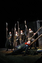 WARS OF THE ROSES - EDWARD IV   by Shakespeare   adapted and directed by Barrie Rutter,l-r: Phil Corbitt (Warwick), Conrad Nelson (Richard), Richard Standing (Edward), ,Andrew Cryer (Oxford) with (lyi...