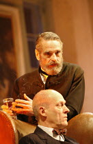 EMBERS   by Christopher Hampton   from the novel by Sandor Marai   director: Michael Blakemore,(foreground) Patrick Malahide (Konrad), Jeremy Irons (Henrik),Duke of York^s Theatre, London WC2...