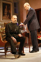 EMBERS   by Christopher Hampton   from the novel by Sandor Marai   director: Michael Blakemore,l-r: Jeremy Irons (Henrik), Patrick Malahide (Konrad), ,Duke of York^s Theatre, London WC2              0...