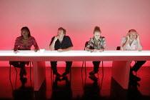 FEWER EMERGENCIES   by Martin Crimp   director: James Macdonald,l-r: Tanya Moodie, Neil Dudgeon, Rachael Blake, Paul Hickey,Jerwood Theatre Upstairs / Royal Court Theatre, London SW1        12/09/2005...