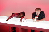 FEWER EMERGENCIES   by Martin Crimp   director: James Macdonald,Tanya Moodie, Neil Dudgeon,Jerwood Theatre Upstairs / Royal Court Theatre, London SW1        12/09/2005,~(c) Donald Cooper/Photostage...