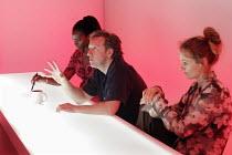 FEWER EMERGENCIES   by Martin Crimp   director: James Macdonald,l-r: Tanya Moodie, Neil Dudgeon, Rachael Blake,Jerwood Theatre Upstairs / Royal Court Theatre, London SW1        12/09/2005,