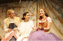 FLANDERS MARE   by Zoe Lewis   director: Alan Cox,l-r: Denise Gough (Helsie), Pandora Colin (Anne of Cleves), Natalie Walter (Katherine Howard),Sound Theatre, London W1                    14/10/2005,