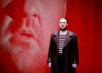 THE FLYING DUTCHMAN (Der Fliegende Hollander) by Wagner   conductor: Carlo Rizzi   director: David Pountney~Bryn Terfel (The Dutchman) with his projected image,Welsh National Opera / Wales Millennium...