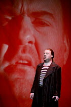 FLYING DUTCHMAN (Der Fliegende Hollander) by Wagner   ,conductor: Carlo Rizzi   director: David Pountney,Bryn Terfel (The Dutchman) with his projected image,Welsh National Opera / Wales Millennium Cen...