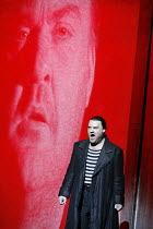 THE FLYING DUTCHMAN (Der Fliegende Hollander) by Wagner   ,conductor: Carlo Rizzi   director: David Pountney,Bryn Terfel (The Dutchman) with his projected image,Welsh National Opera / Wales Millennium...